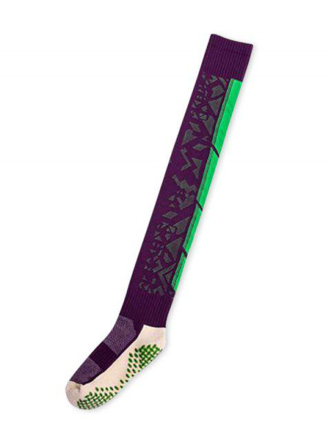 latest Geometric Anti-slip Thigh High Socks - VIOLET  Mobile