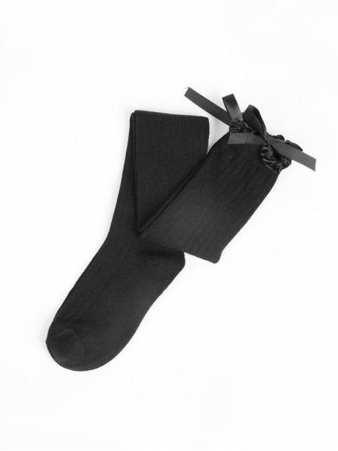 Chaussettes Longueur à Genou avec Nœud Papillon à Volants - Noir  Mobile