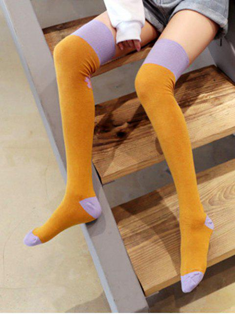 fashion Floral Colorblock Thigh High Socks - YELLOW  Mobile