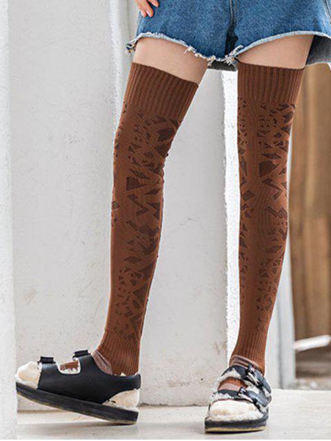 fancy Geometric Anti-slip Thigh High Socks - CARAMEL  Mobile