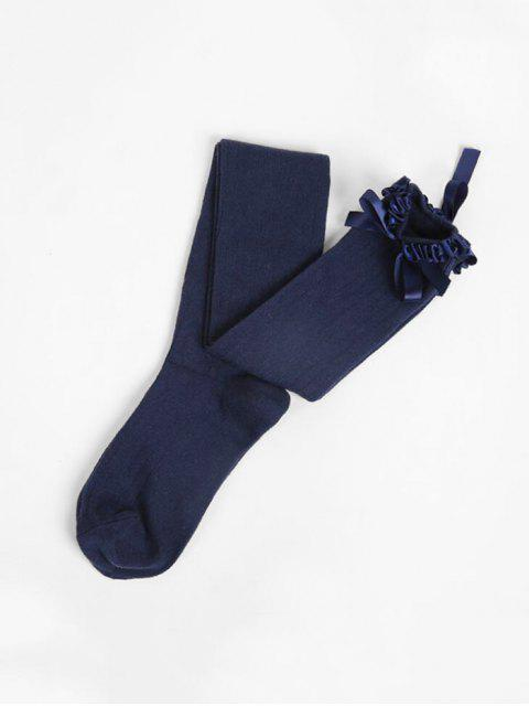 unique Ruffle Bowknot Over Knee Length Socks - CADETBLUE  Mobile