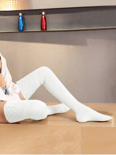 Chaussettes Géométriques Moulantes Jointives en Maille - Blanc  Mobile