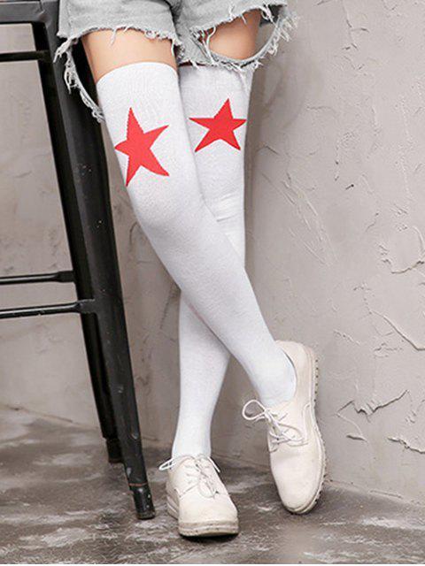women Star Pattern Over Knee Length Socks - WHITE  Mobile