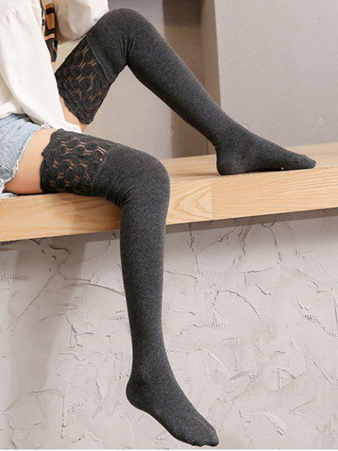 women's Geometric Mesh Patchwork Thigh High Socks - DARK GRAY  Mobile