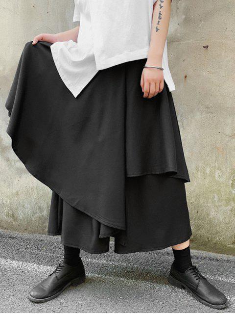outfit Japanese Style Asymmetric Palazzo Pants - BLACK XL Mobile