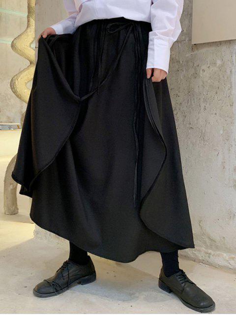 Pantalon Jupe Asymétrique à Cordon Style Japonais - Noir L Mobile