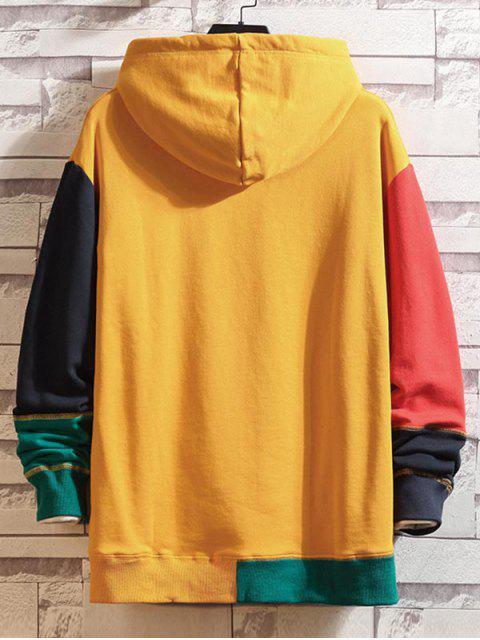 Colorblock empalmado con capucha con cordón de costura - Amarillo 3XL Mobile