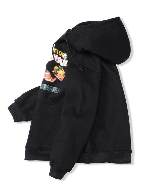 Salmón Sushi gráfico bolsillo canguro Fleece con capucha - Negro XL Mobile