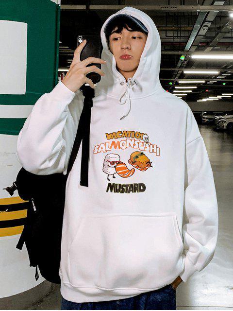 Salmón Sushi gráfico bolsillo canguro Fleece con capucha - Blanco L Mobile