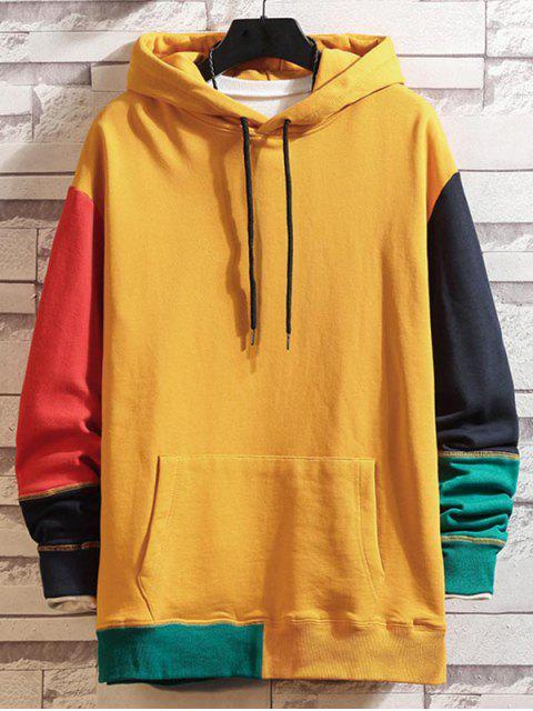 Colorblock empalmado con capucha con cordón de costura - Amarillo XL Mobile