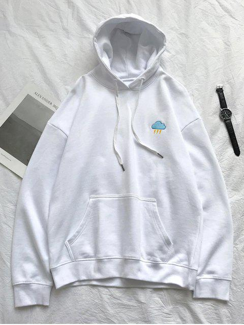 El tiempo creativo bordado bolsillo canguro Fleece con capucha - Blanco 3XL Mobile