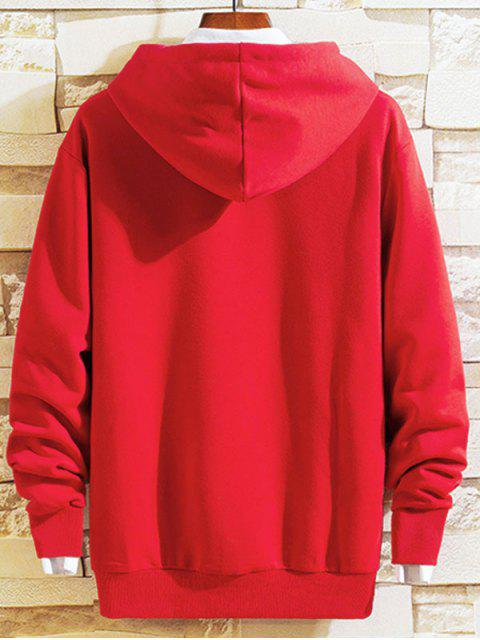 Sudadera con capucha de la bolsa del bolsillo Love Life bordado de la letra - Rojo XS Mobile