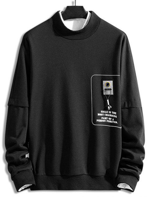 Carta gráfica impresa ocasional de la camiseta - Negro 3XL Mobile