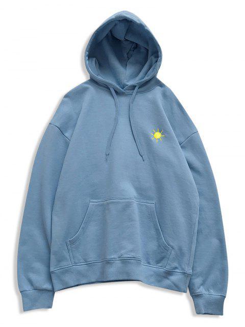 El tiempo creativo bordado bolsillo canguro Fleece con capucha - Azul Claro XL Mobile