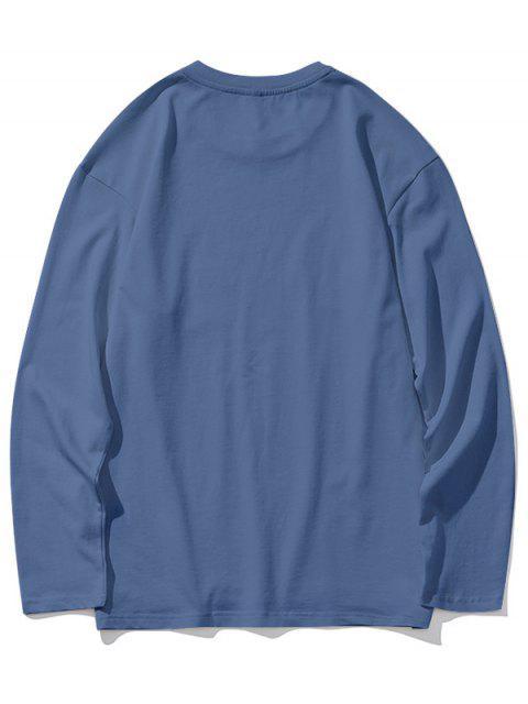 Dip gota sólidos del hombro Hem de hendidura con capucha - Azul XL Mobile