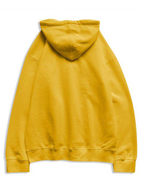 El tiempo creativo bordado bolsillo canguro Fleece con capucha - Amarillo 2XL Mobile