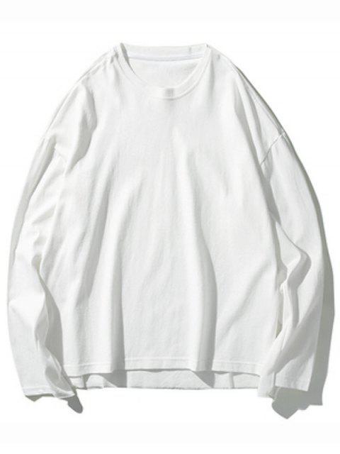 Dip gota sólidos del hombro Hem de hendidura con capucha - Blanco XL Mobile