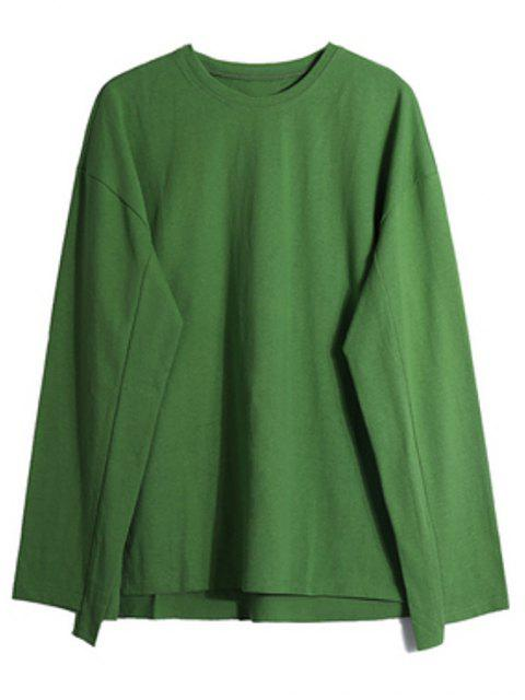 Dip gota sólidos del hombro Hem de hendidura con capucha - Verde de Pistacho L Mobile