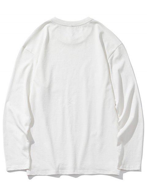 Dip gota sólidos del hombro Hem de hendidura con capucha - Blanco M Mobile
