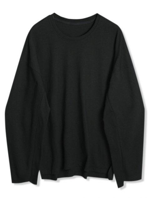 Dip gota sólidos del hombro Hem de hendidura con capucha - Negro XL Mobile