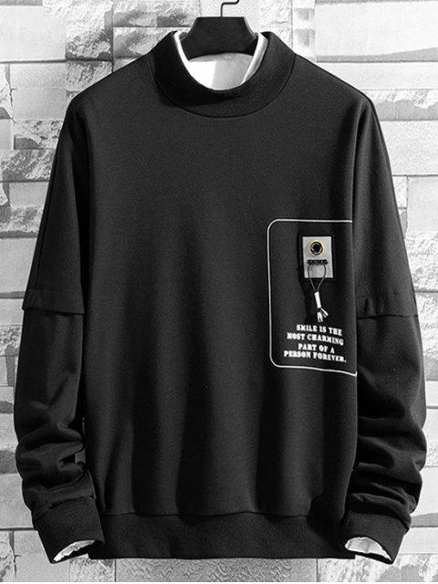 Carta gráfica impresa ocasional de la camiseta - Negro 2XL Mobile