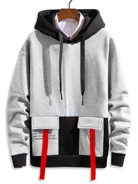 Letra impresa en color empalmado con capucha con cordón - Gris S Mobile