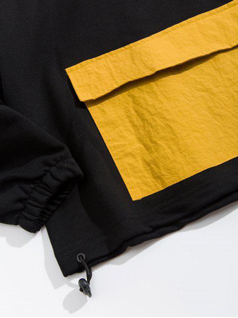 Carta de bolsillo colorblock Patch Solapa con capucha de impresión - Negro XL Mobile