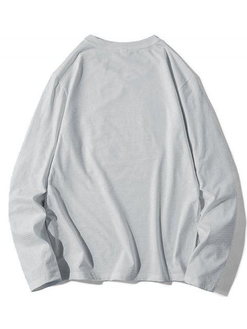 Patrón de la letra informal Color empalmado con capucha - Gris Claro L Mobile