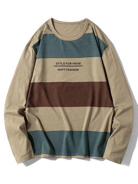 Patrón de la letra informal Color empalmado con capucha - Caqui L Mobile