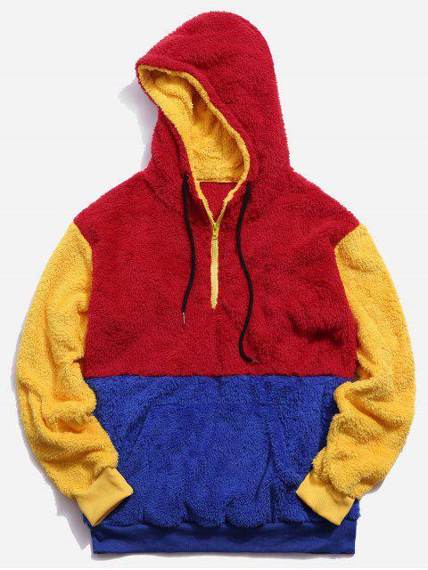 El bloqueo de color barrio de la cremallera con capucha mullida - Multicolor-A 2XL Mobile