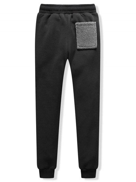 Contrasta la piel de imitación de bolsillo de empalme paño grueso y suave del basculador de pantalones - Negro L Mobile