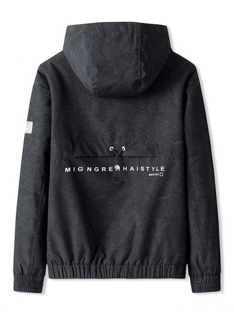 Bolsillo de la decoración patrón de la letra de la chaqueta con capucha - Negro 3XL Mobile