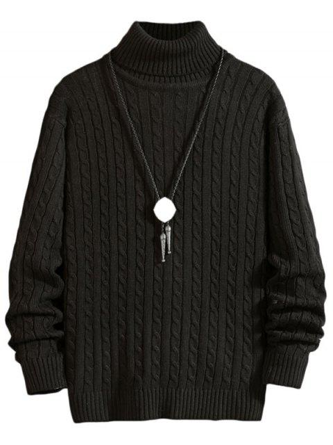 latest Solid Color Cable Knitted Turtleneck Sweater - BLACK L Mobile