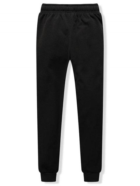 buy Pleated Solid Drawstring Fleece Jogger Pants - BLACK L Mobile
