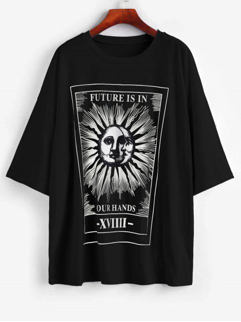 fancy Sun and Moon Letter Print Loose Tee - BLACK L Mobile