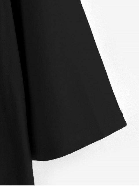 sale Boyish Sun and Moon Letter Print Oversized Tee - BLACK S Mobile