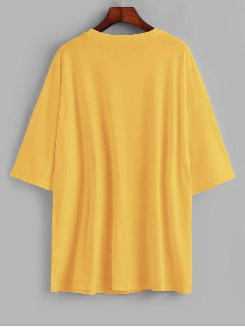 buy Sun and Moon Letter Print Loose Tee - YELLOW M Mobile