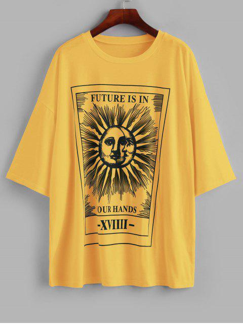 womens Sun and Moon Letter Print Loose Tee - YELLOW L Mobile