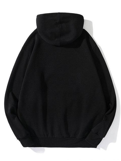 Esta noche Carta ocasional de la impresión del lazo del paño grueso y suave con capucha - Negro XL Mobile
