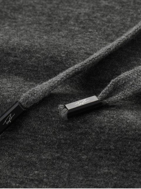 Sin lugar a dudas impresión de la letra Fleece con capucha con cordón - Gris Oscuro 2XL Mobile