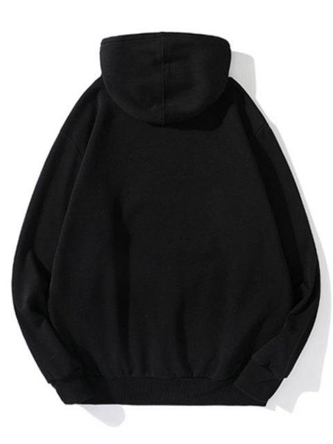 Carta Estampado Patchwork cordón Fleece con capucha - Negro XL Mobile