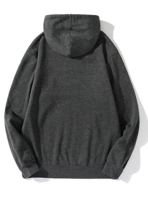 Carta Estampado Patchwork cordón Fleece con capucha - Gris Oscuro L Mobile