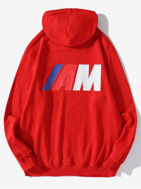 Carta de la bolsa del bolsillo de impresión con capucha con cordón - Rojo XL Mobile