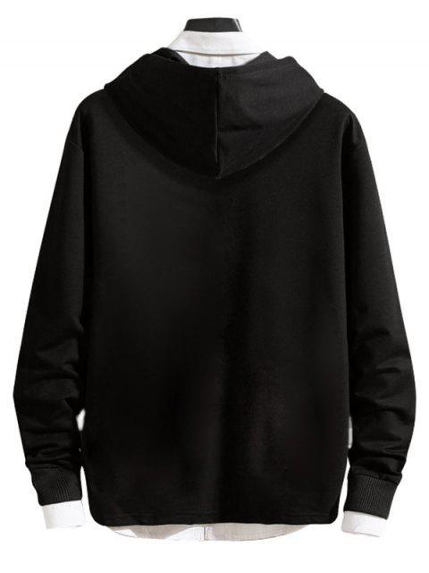 Carta de impresión reflectante-ajuste de bolsillo con cremallera con capucha informal - Negro S Mobile
