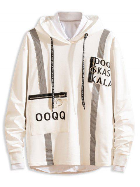 Carta de impresión reflectante-ajuste de bolsillo con cremallera con capucha informal - Blanco XS Mobile
