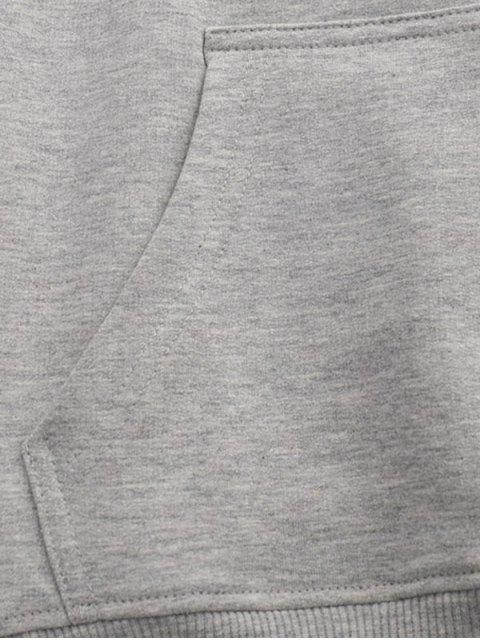 Animal de la letra de caracteres gráficos de impresión con capucha con cordón - Gris L Mobile