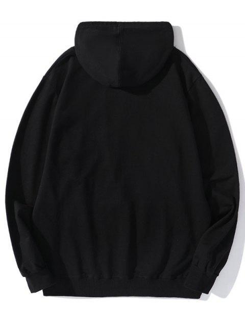 Carta de caracteres de los hombres con capucha con cordón Imprimir - Negro 2XL Mobile