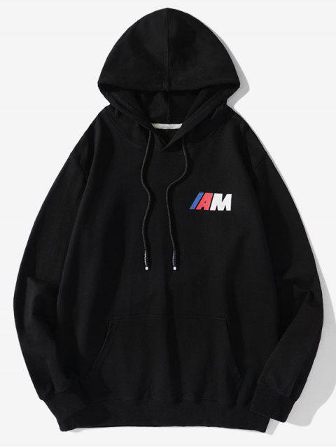 Carta de la bolsa del bolsillo de impresión con capucha con cordón - Negro M Mobile