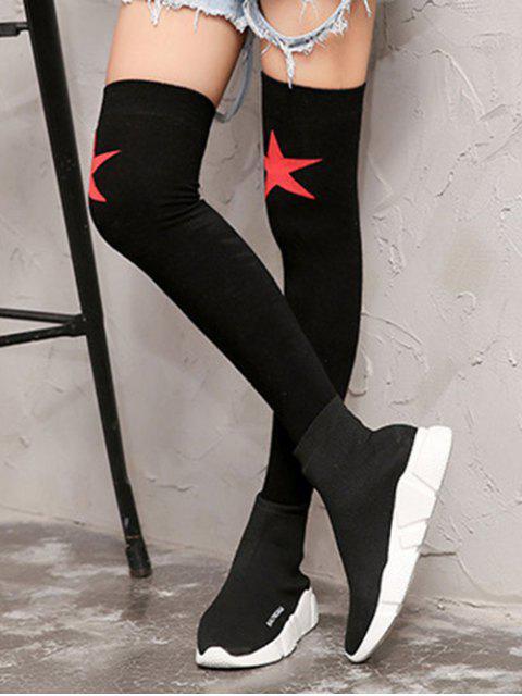 women's Star Pattern Over Knee Length Socks - BLACK  Mobile