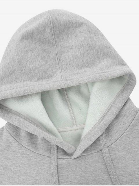 Pluma Gráfica informal con cordón Fleece con capucha - Gris Claro M Mobile